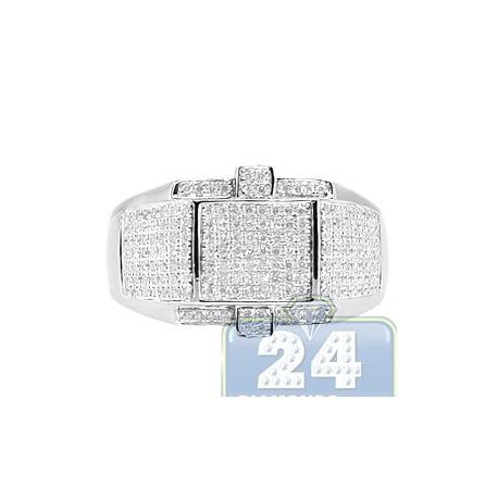 14K White Gold 0.67 ct Round Cut Pave Diamond Mens Ring