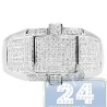 14K White Gold 0.67 ct Round Cut Pave Diamond Mens Ring