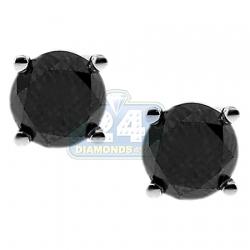 14K White Gold 2.79 ct Black Diamond Womens Stud Earrings
