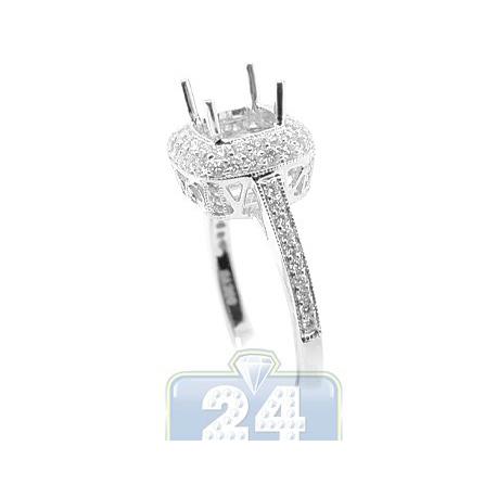 18K White Gold 0.71 ct Diamond Halo Engagement Ring Setting