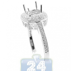 18K White Gold 0.71 ct Diamond Halo Engagement Ring Setting