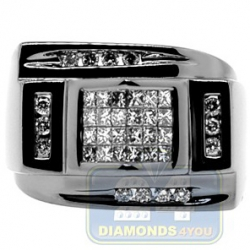 Black PVD 14K Gold 0.79 ct Princess Round Diamond Mens Ring