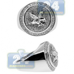 14K White Gold 0.80 ct Diamond Mens Round Eagle Ring
