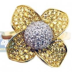 Womens diamond yellow sapphire flower ring 14k yellow gold 14k yellow gold 138 ct diamond yellow sapphire flower ring mightylinksfo