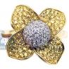 14K Yellow Gold 1.38 ct Diamond Yellow Sapphire Womens Flower Ring