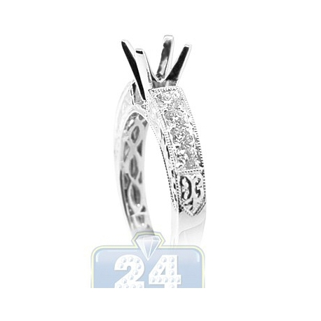 18K White Gold 0.49 ct Diamond Vintage Engagement Ring Setting