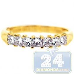 14K Yellow Gold 0.76 ct 7 Princess Cut Diamond Womens Ring
