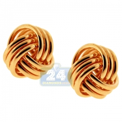 10K Yellow Gold Swirl Knot Womens Stud Earrings