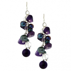 925 Sterling Silver Amethyst Pearl Crystal Womens Hook Earrings