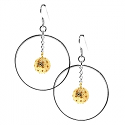 925 Sterling Silver Dangling Ball Circle Womens Earrings 1 9/16""
