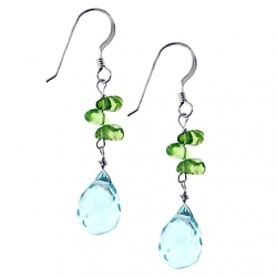 925 Sterling Silver Aqua Topaz Peridot Womens Hook Earrings 1.75""