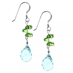 """925 Sterling Silver Aqua Topaz Peridot Womens Hook Earrings 1.75"""""""
