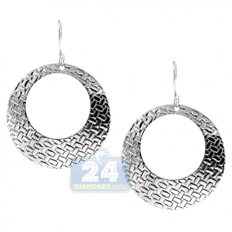 925 Sterling Silver Weave Cut Out Pattern Womens Circle Earrings