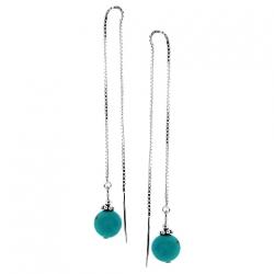 925 Sterling Silver Turquoise Womens Long Threader Earrings