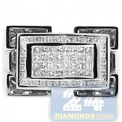 14K White Gold 0.85 ct Diamond Mens Rectangle Ring