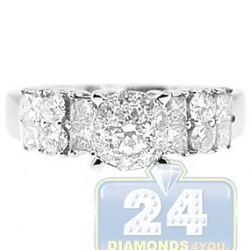 14K White Gold 1.05 ct Mixed Diamond Cluster Engagement Ring