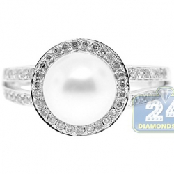 14K White Gold 5 ct Diamond Pearl Womens Solitaire Ring