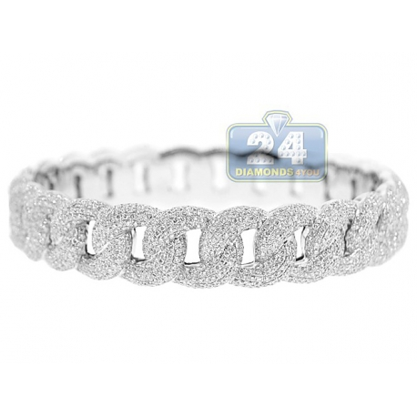Mens Diamond Pave Cuban Link Bracelet 18K White Gold 11.30 ct 9""