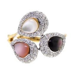 14K Yellow Gold 1.04 ct Diamond Multi Colored Opal Ring