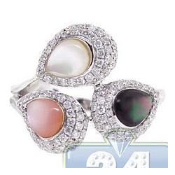 14K White Gold 1.04 ct Diamond Opal Womens Cocktail Ring