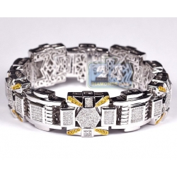 14K White Gold 9.40 ct Diamond Link Mens Bracelet 19 mm 9 inch