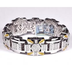 14K White Gold 9.40 ct Diamond Link Mens Bracelet 19 mm 9 inch