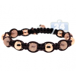 14K Rose Gold 7.66 ct Diamond Bead Adjustable Macrame Bracelet