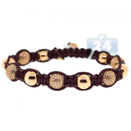 14K Yellow Gold 6.86 ct Diamond Bead Adjustable Macrame Bracelet
