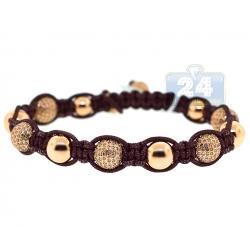 14K Yellow Gold 6.86 ct Diamond Bead Adjustable Bracelet