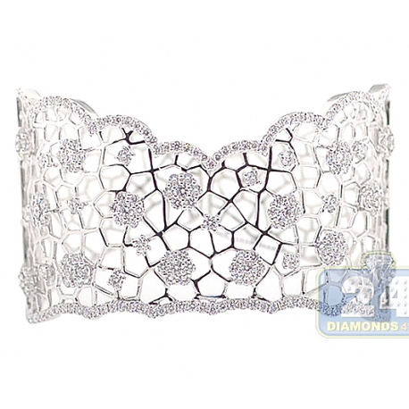 Womens Diamond Openwork Cuff Bracelet 18K White Gold 7.49 ct 6.5""