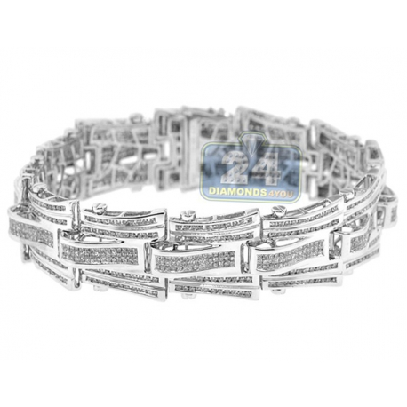 Mens Diamond Link Bracelet 14K White Gold 10.04 ct 19mm 8.5""