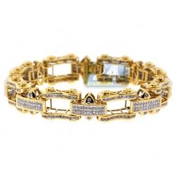 14K Yellow Gold 8.52 ct Diamond Bicycle Link Mens Bracelet