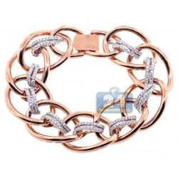 18K Two Tone Gold 3.79 ct Diamond Woven Link Womens Bracelet