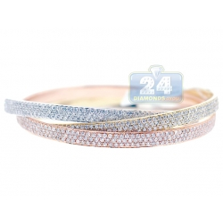14K 3-Tone Gold 15.34 ct Diamond Womens Triple Bangle Bracelet