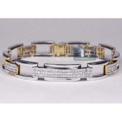 14K Two Tone Gold 6.80 ct Diamond Mens Bicycle Bracelet 8 3/4 Inch