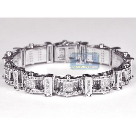 """Mens Diamond Link Bracelet 14K White Gold 11.00 ct 11mm 8"""""""