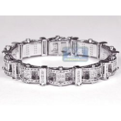 14K White Gold 11.00 ct Diamond Link Mens Bracelet 8 Inches