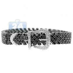 14K White Gold 20.00 ct Diamond Buckle Womens Bracelet 7 Inch