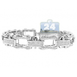 14K White Gold 8.60 ct Diamond Bicycle Link Mens Bracelet