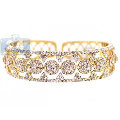 Womens Diamond Openwork Cuff Bracelet 18K Yellow Gold 6.95 ct