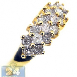 14K Yellow Gold 1 ct Princess Diamond Multi Stone Womens Ring