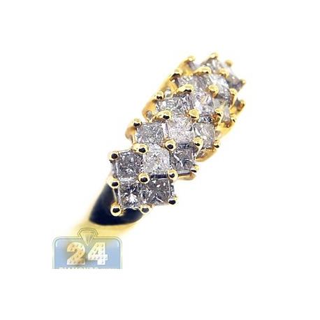 14K Yellow Gold 1 ct Princess Cut Diamond Multi Stone Womens Ring