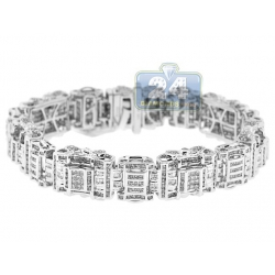 14K White Gold 7.05 ct Diamond Link Mens Bracelet 8 1/2 Inch