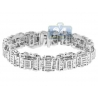 Mens Diamond Link Bracelet 14K White Gold 7.05 ct 15mm 8.5""