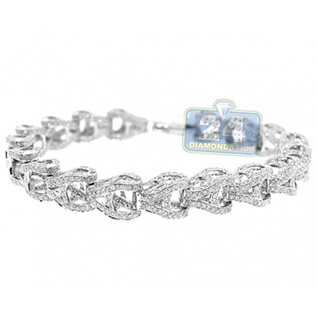 Mens Diamond Puff Link Bracelet 14K White Gold 16.20 ct 10mm 9""