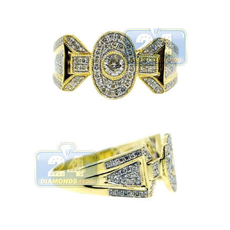 14K Yellow Gold 0.84 ct Diamond Mens Vintage Ring