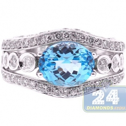 14K White Gold 5.10 ct Blue Topaz Diamond Womens Ring