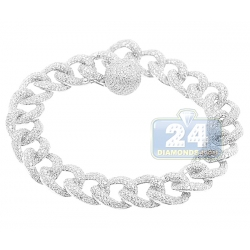 14K White Gold 11.73 ct Diamond Curb Link Mens Bracelet