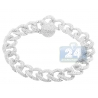 Mens Diamond Curb Link Bracelet 14K White Gold 11.73 ct 8.5""