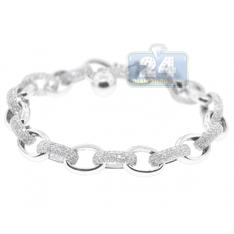 "Mens Diamond Cable Link Bracelet 14K White Gold 5.30 ct 8mm 8"""